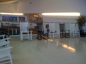 why so many rocking chairs in Harrisburg Airport?